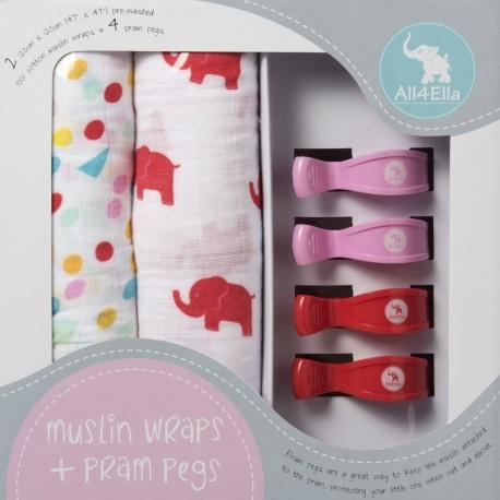 "2x MUSLIN WRAPS & 4x PRAM PEGS ""red elephant & spots"" Gift Pack"