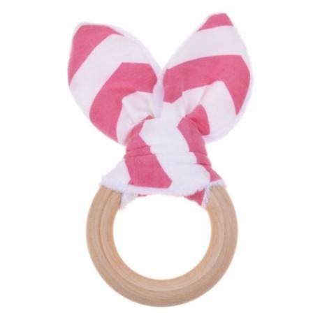 Natural Wood & Bunny Ear Teething Ring –Bright  Pink Chevron