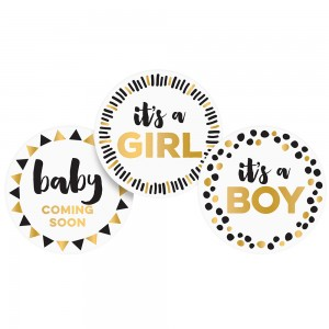 PEARHEAD PREGNANCY BELLY STICKERS - Black, white & gold