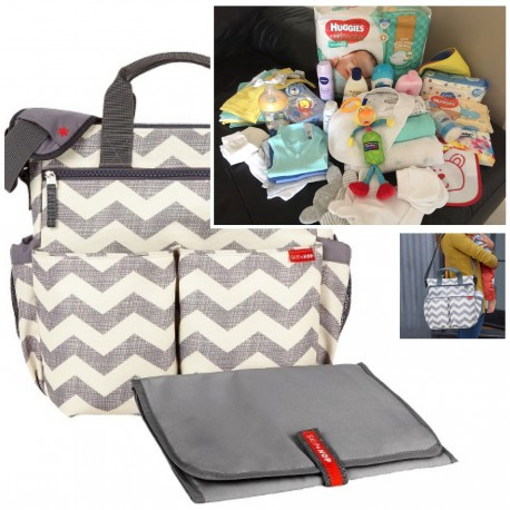 """FILLED """"PICK UP & GO"""" SIGNATURE GREY CHEVRON BABY BAG"""