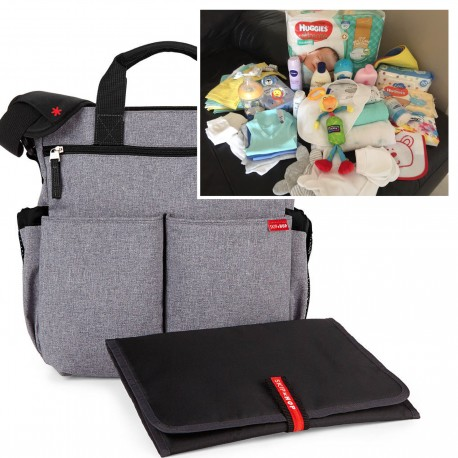"""FILLED """"PICK UP & GO"""" SIGNATURE GREY HEATHER BABY BAG"""