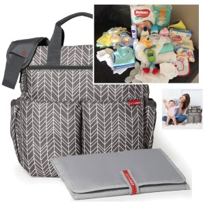 """FILLED """"PICK UP & GO"""" SIGNATURE GREY FEATHER BABY BAG"""