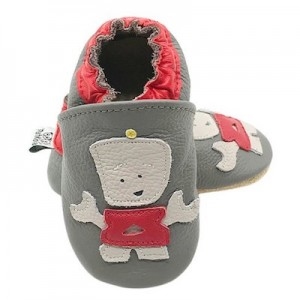 SOFT SOLED LEATHER BABY SHOES - Grey/ Red  0-6 months