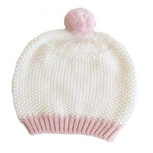 ALIMROSE POM POM HAT – ivory & pink