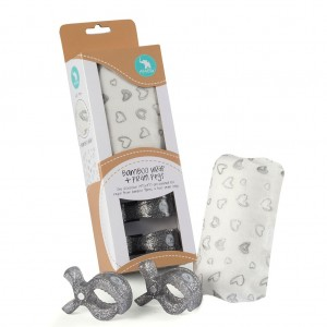 """BAMBOO WRAP & 2 PRAM PEGS """"silver hearts""""  Gift Pack"""