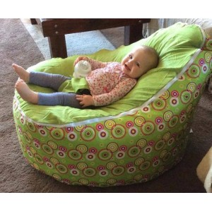 ARRIVING BACK IN STOCK SEPT 26TH - Circles Green Bean Bag Chair with Harness