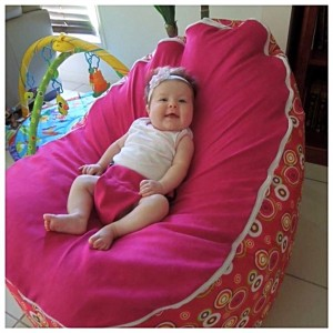 Hot Pink Circles Bean Bag Chair with Harness