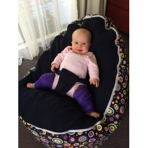 Multicircle Navy Bean Bag Chair with Harness