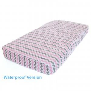 WATERPROOF COT MATTRESS PROTECTOR - Pink Chevron