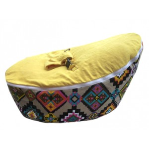 Aztec Yellow Bean Bag Chair with Harness