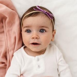 VELVET BABY HEADBAND BOW - grape