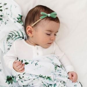 VELVET BABY HEADBAND BOW - olive
