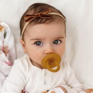 VELVET BABY HEADBAND BOW - toffee