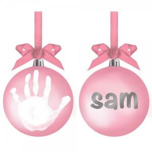PEARHEAD BABYPRINTS BALL ORNAMENT - pink