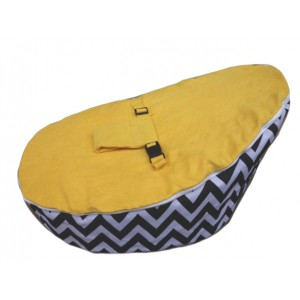 PRE PURCHASE TO SECURE - Chevron Yellow On Black Bean Bag Chair with Harness