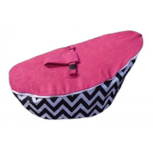 PRE PURCHASE TO SECURE - Chevron Hot Pink On Black Bean Bag Chair with Harness