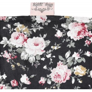 SHOPPING TROLLEY LINER (Fits DOUBLE or SINGLE TROLLEYS) - Black Flower