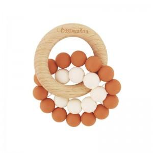 OB Designs ECO FRIENDLY BEECHWOOD SILICONE TEETHER - cinnamon