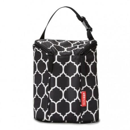 SKIP HOP GRAB & GO DOUBLE BOTTLE BAG - Onyx Tile
