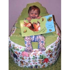 Jungle Animals Green Bean Bag Chair
