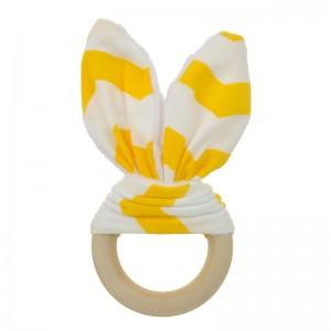 Natural Wood & Bunny Ear Teething Ring – Yellow Chevron